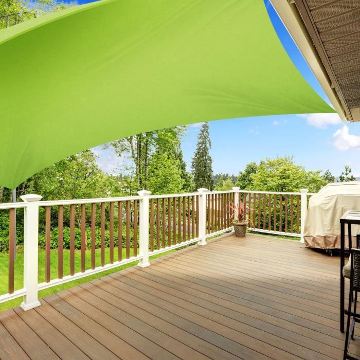Voile Ombrage 3x5 m - Vert Clair - Rectangulaire Waterproof & Anti-UV - Lavable en Machine - Densité 160g - m² - Toile Tendue