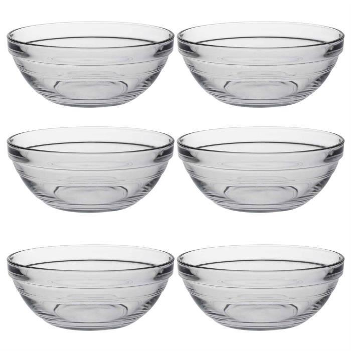 Saladiers empilables Lys - en verre-pour la cuisine - 17 cm - lot de 6