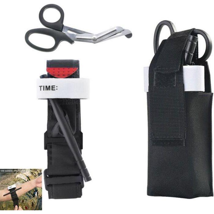 3pcs/set Version Emergency Kit - Trousse De Premiers Soins Tactique Garrot Médical Bandage Ciseaux Sac D'Urgence Voyage Porter Poche