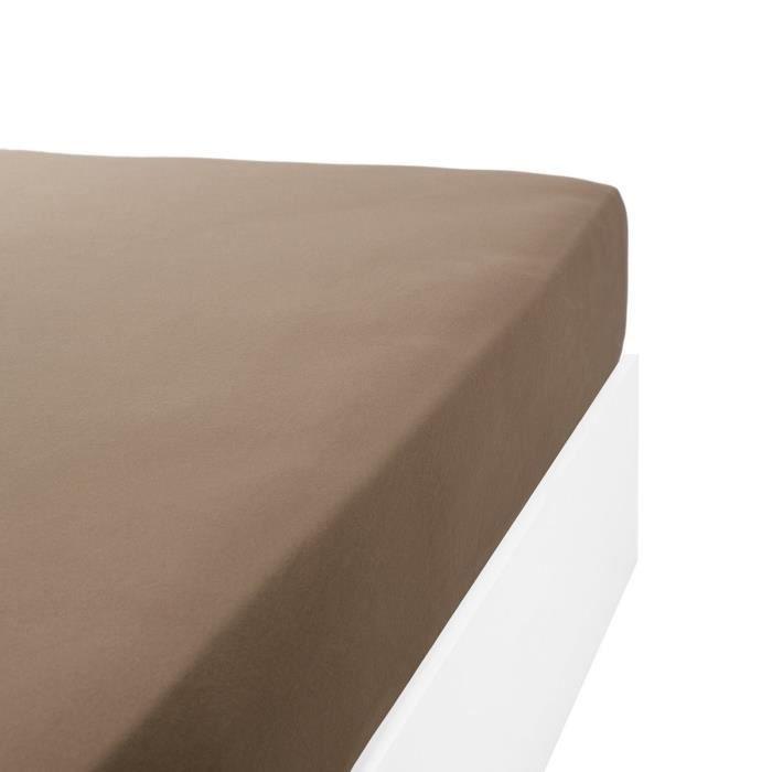 LINANDELLE - Drap housse coton jersey extensible lit double articulé PAPILLON - Taupe - 90x200 cm