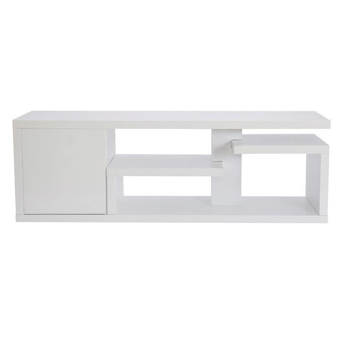 Miliboo - Meuble TV design laqué blanc brillant L150 cm HALTON