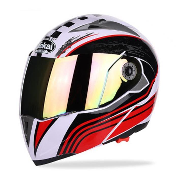 Casque de Moto de marque luxe Unisexe Casque intégral Haute qualité Double lentille anti-buée Respirant Résistant à l'usure