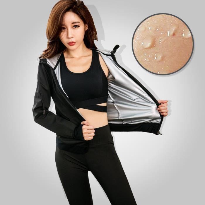 Veste de Sudation Femme Elastique Fitness Musculation Brûler des graisses Suer plus Cycle de chaleur