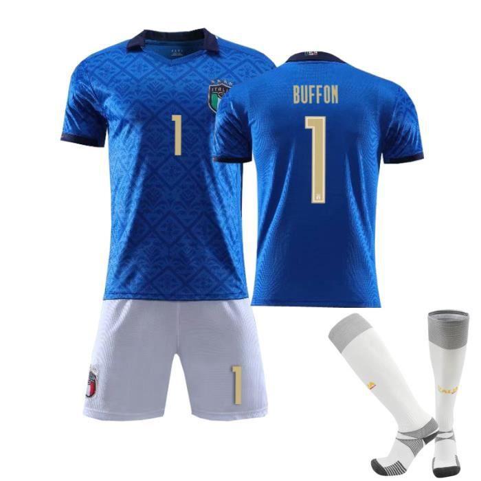 Maillot de Football Italie Domicile 2020-2021 1 Buffon Collection d'Italie Maillot Formation Bleu Tenue + Chaussette Junior Enfant