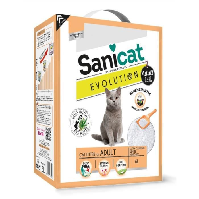 SANICAT Litière Evolution Adult 6L - Pour chat adulte