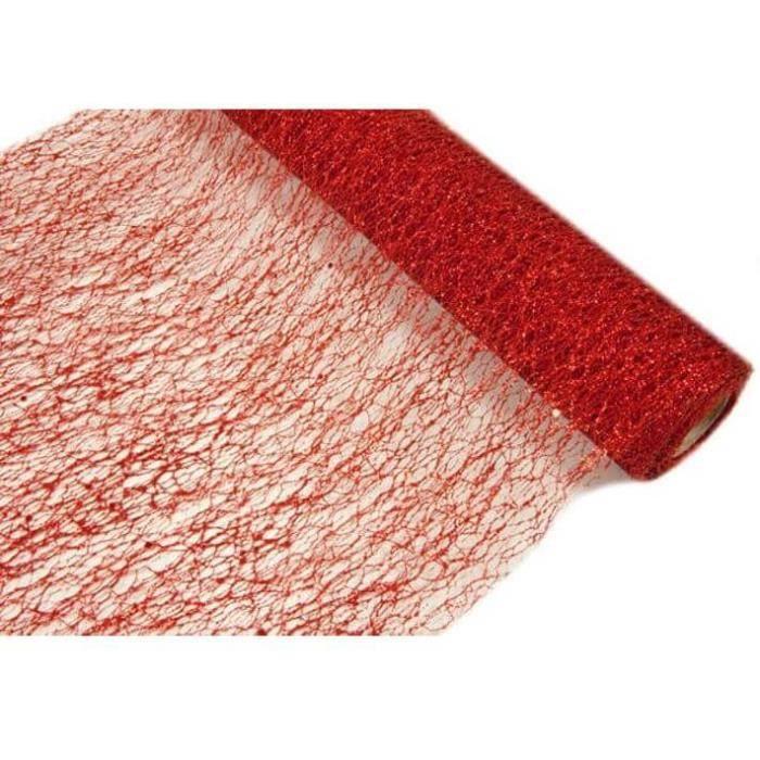 Chemin de table tulle de Noël rouge métallisé 28cm x 5m (x1) R/TUN215