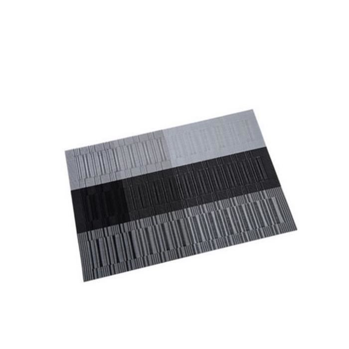 TOFOCO Lot de 4 Sets Sets de table - 45x30 cm - Rayé PVC - Noir