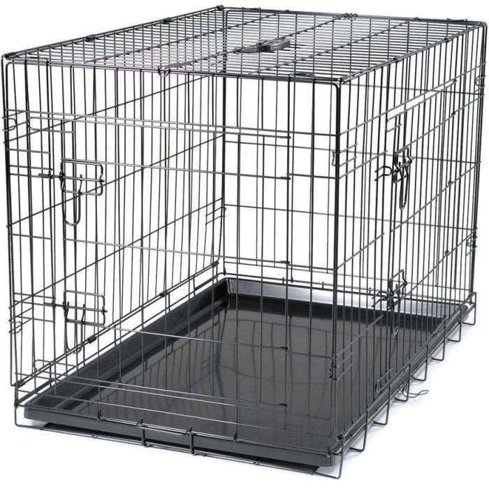 VADIGRAN Cage métallique pliable Classic - 91 x 61 x 66 cm - Noir - Pour chien