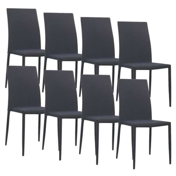 lot de 8 chaises noires en tissu kyni achat vente chaise noir cdiscount. Black Bedroom Furniture Sets. Home Design Ideas