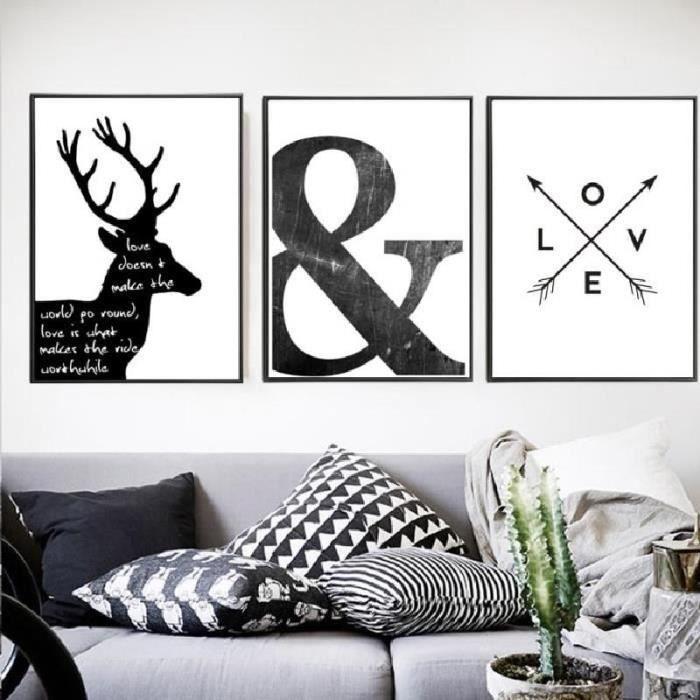 Abstrait Symbole Toile Peinture Noir Blanc Nordic Scandinave Mur Art Image Poster Imprimer Salon Maison Decor Non Encadré