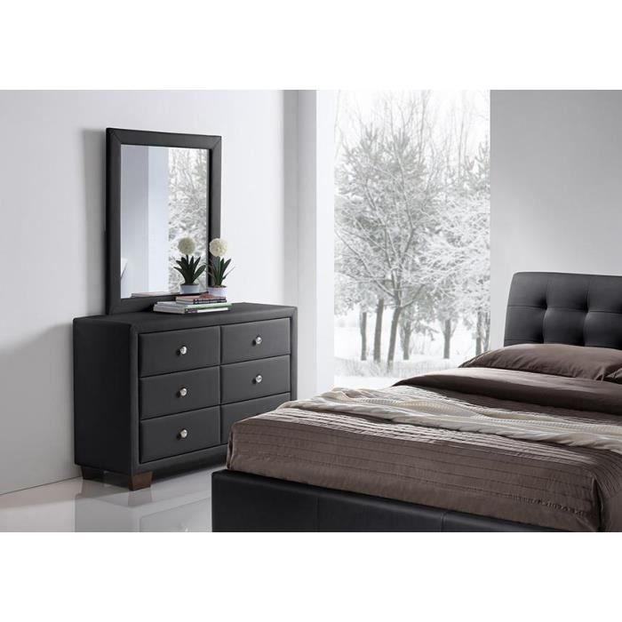 commode simili noir 6 tiroirs avec miroir samara achat vente commode de chambre commode. Black Bedroom Furniture Sets. Home Design Ideas