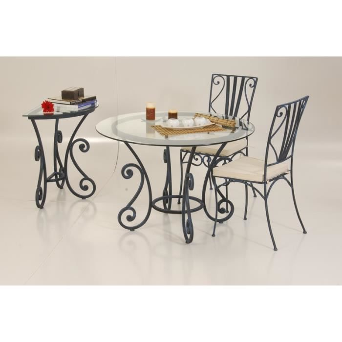 Table de repas ronde en fer forg 110cm vogue meuble for Meuble en fer forge
