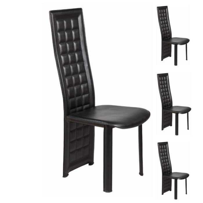 quatuor de chaises noires domio mod le c achat vente chaise pvc cdiscount. Black Bedroom Furniture Sets. Home Design Ideas