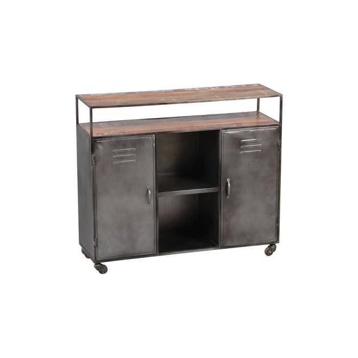 BUFFET - BAHUT  Comptoir vieillie acier 2 portes 2 étagères 110 Pa
