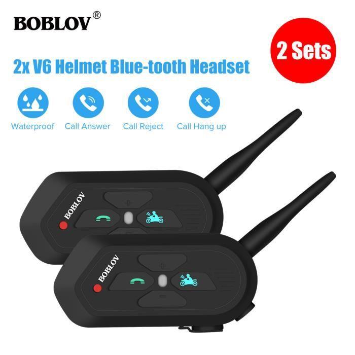 INTERCOM MOTO BOBLOV V6-1200M Moto Intercom Oreillette Bluetooth