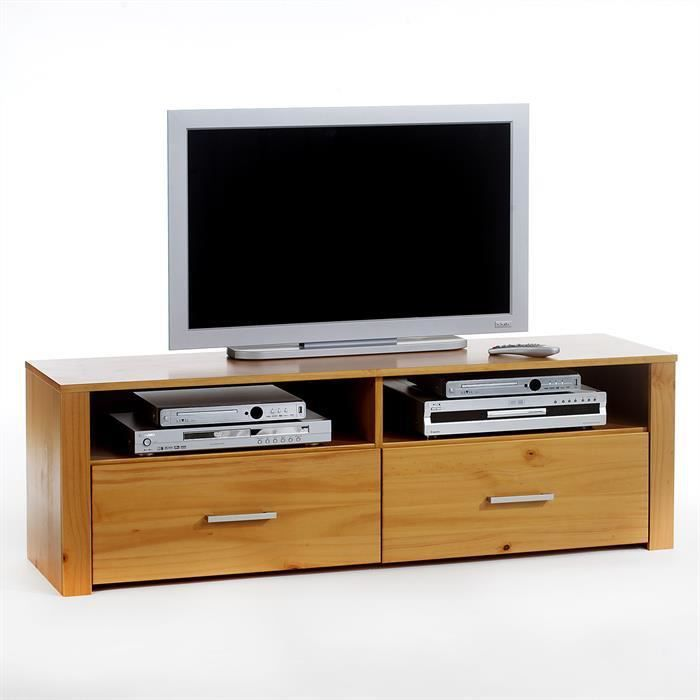 meuble tv en pin tenno 2 tiroirs 2 niches l achat. Black Bedroom Furniture Sets. Home Design Ideas