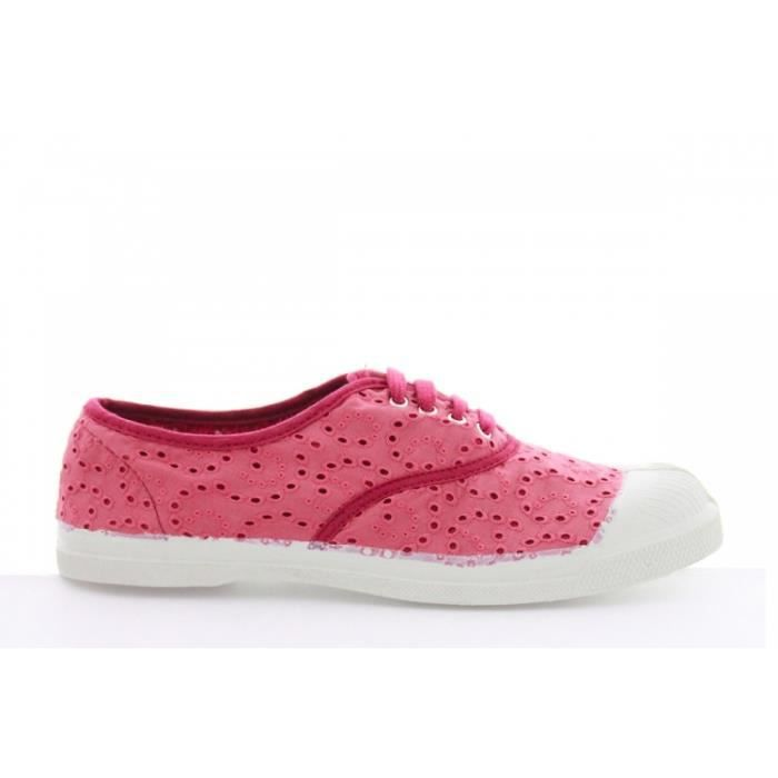 Baskets mode Bensimon Lacets Broderie Anglaise Rose