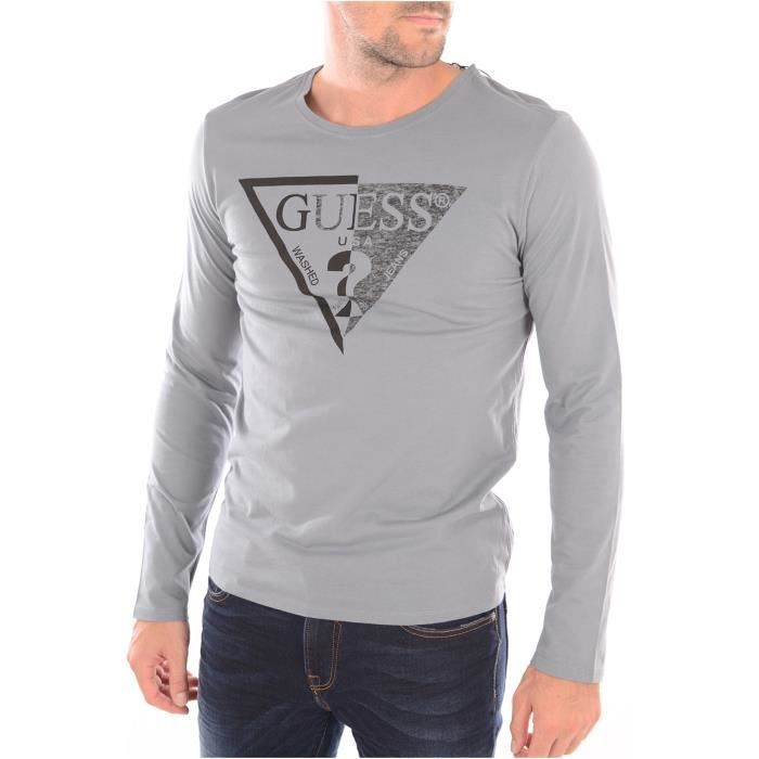 Tee Shirt Manches Longues Homme Guess Gris