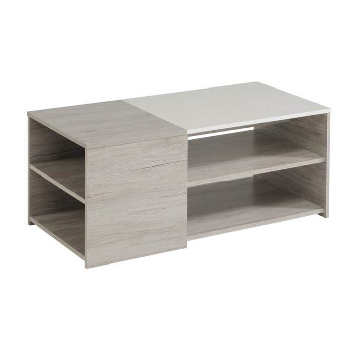 TABLE BASSE Table basse avec 3 plateaux en Blanc et chêne, H 4