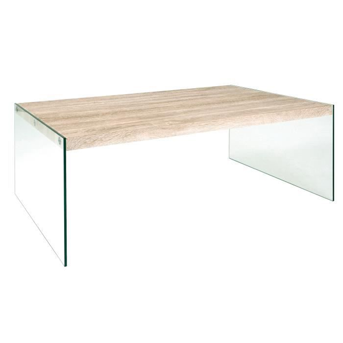 table basse rectangulaire verre et bois carmen achat. Black Bedroom Furniture Sets. Home Design Ideas