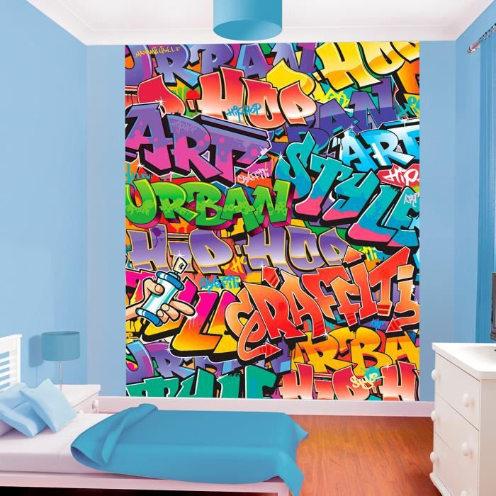 papier peint mural graffiti walltastic l 200 h 243 cm achat vente papier peint cdiscount. Black Bedroom Furniture Sets. Home Design Ideas