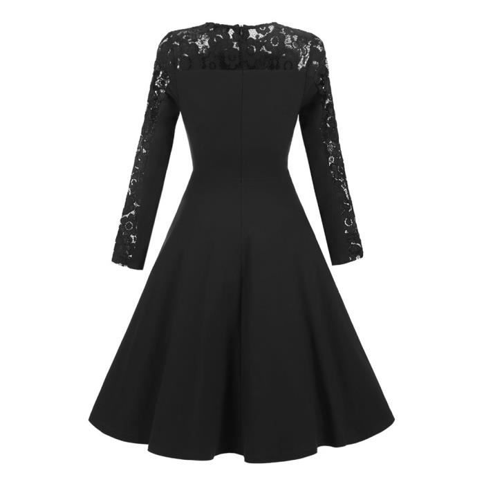 Femmes New Vintage dentelle formelle Patchwork mariage Cocktail Party Retro Swing Dress@Noir