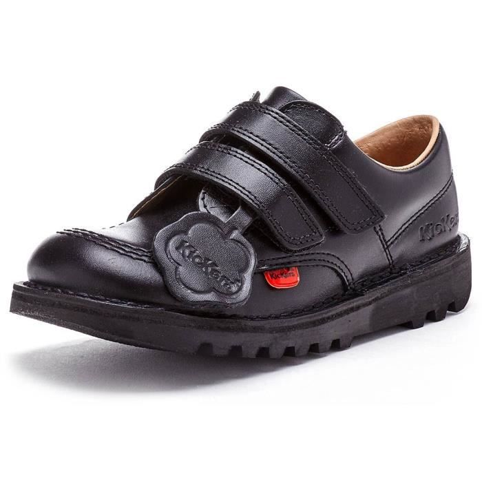 Kickers Lo Classic Strap Junior Back to School Chaussures en Noir 1KF0000435BTW [Enfant UK 12.5EU 31]
