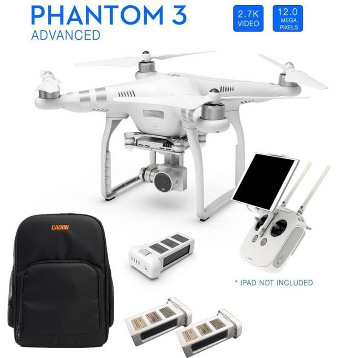 dji phantom 3 advanced quadricopt re drone avec camera 2 batterie suppl mentaire sac pour. Black Bedroom Furniture Sets. Home Design Ideas