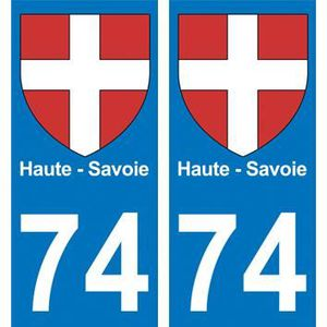 2 Immatriculation 74 Haute Savoie Annecy Departement Autocollant Sticker Discounts Price Badges, Insignes, Mascottes