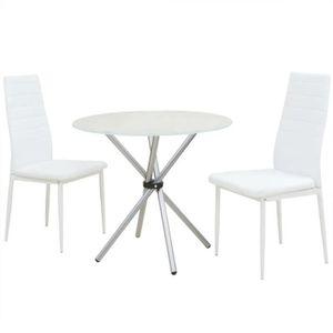 CHAISE Ensemble table à manger 2 personnes + 2 chaises bl