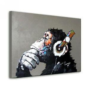 TABLEAU - TOILE Peinture Toile à Huile Oil Painting Singes Tableau