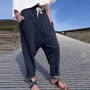 PANTALON Femmes Plus Size Pure Color Pocket Pantalon large