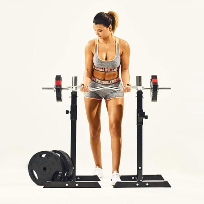 Noir Repose Haltère Réglable Repose Barre Musculation Supports pour Haltères Longs