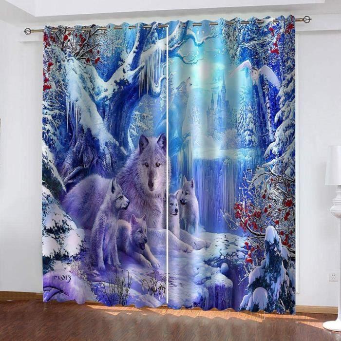 Rideau Salon Occultant Thermiques Imprimé Loup des Neiges des Glaciers d'hiver 3D Rideaux À Oeillets Et Draperies 60x120cm[223]