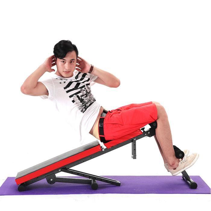 Noir et Rouge-Banc de Musculation Pliable/Sit-up Fitness Dossier réglables en 7 Positions Pour Maison
