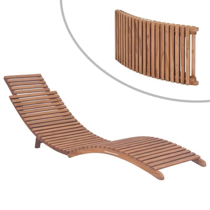 Chaise longue pliable Chaise longue de jardin relax- transat pliant Bois de teck solide