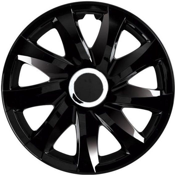 Enjoliveurs de roues DRIFT laqué noir 16- lot de 4 pièces