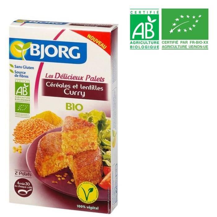 BJORG Palets Céréales Lentilles Curry Bio 200g