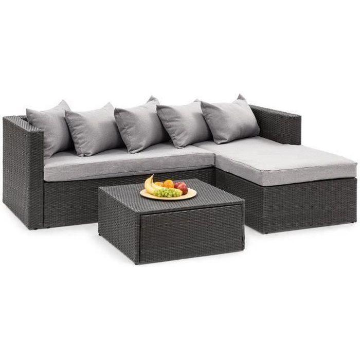Blumfeldt Theia Lounge Salon de jardin 5 places résine tressée - canapé, table basse coussins & housses gris clair - poly rotin noir