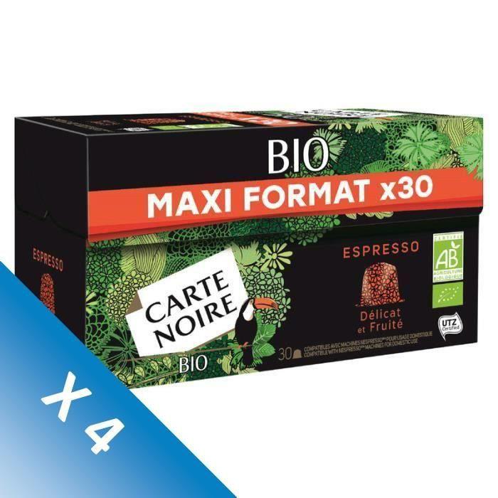 [LOT DE 4] CARTE NOIRE Café Espresso - Bio - 30 capsules - 159 g