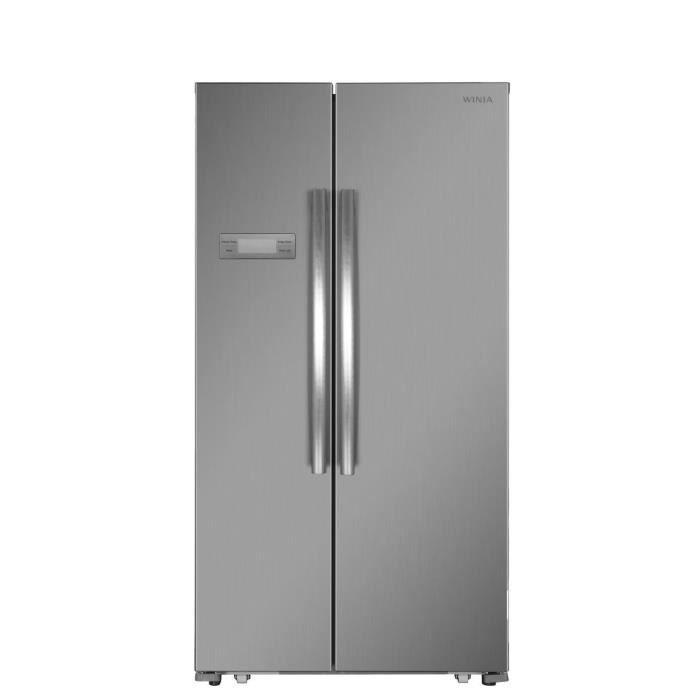 WINIA WFRN-H540B2X-Réfrigérateur américain-517L (448L + 191L)-Froid ventilé total-A+-L 90,5 x H 177 cm-Inox