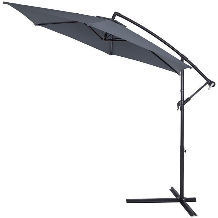 Parasol en aluminium Anthracite Ø 300cm Protection UV 30 Manivelle Jardin balcon