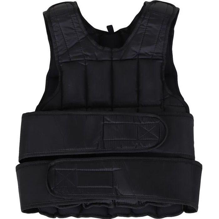 Gilet lesté réglable veste lestée 20 Kg max. poids amovibles entrainement musculation exercice boxe oxford noir 40x1x59cm Noir