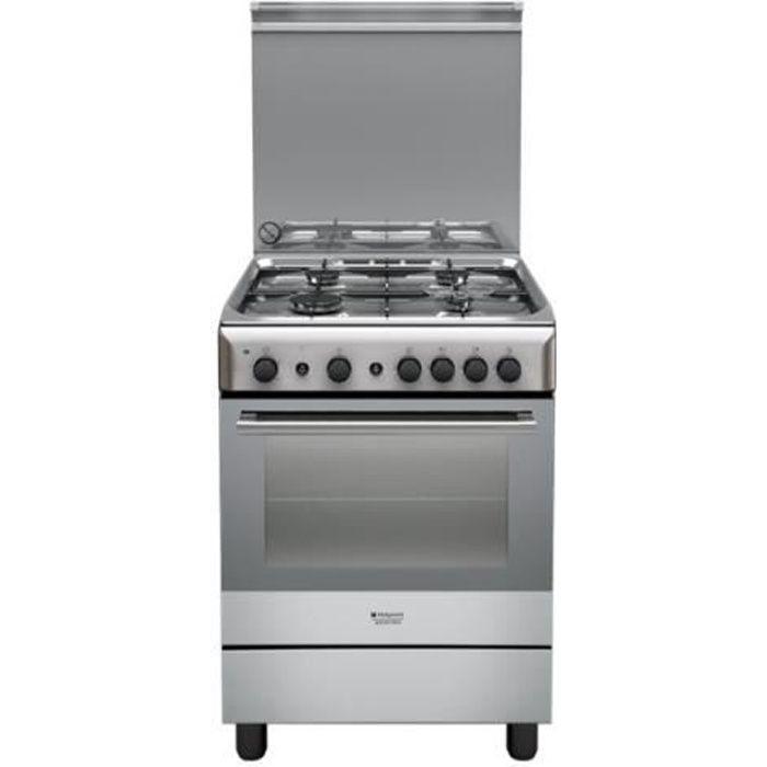 Hotpoint Ariston H6GG1F (X) IT Cuisinière pose libre largeur : 60 cm profondeur : 60 cm hauteur : 85 cm inox