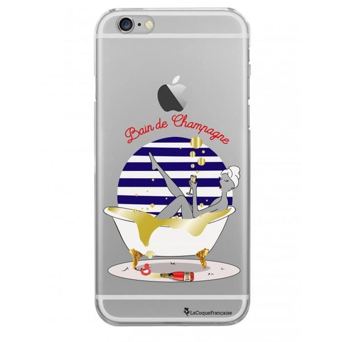 Coque iPhone 6 Plus / 6S Plus rigide transparente Bain de champagne Ecriture Tendance et Design La Coque Francaise