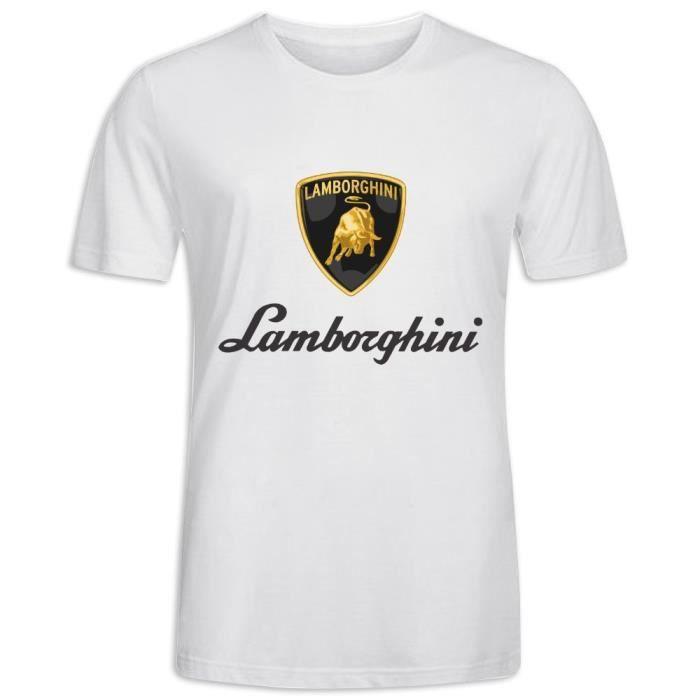 Tee Shirts avec imprimé en Lamborghini Logo Manche Courte T-shirt Homme
