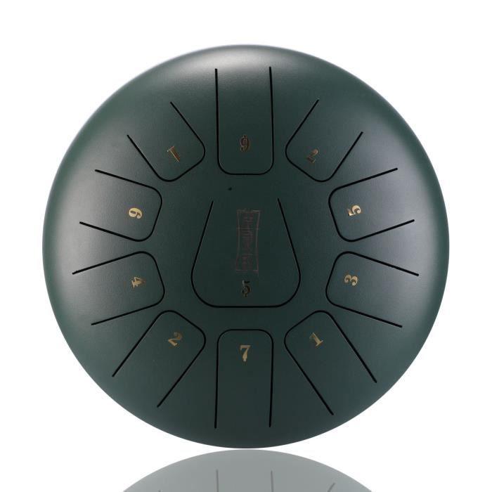 NEUFU 12'' Tongue Drum Kit Aquadrum Air Tambour de Langue Handpan Main 11 Sons Vintage Vert