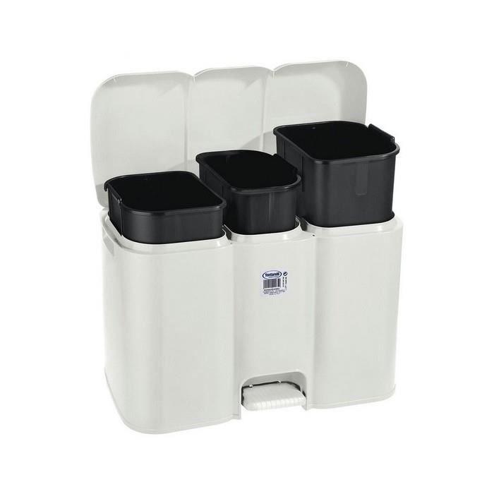 Organiseurs Magnifique poubelle a pedale parry tontarelli 3 compartiments blanc 40 l (58,5 x 32 x 41,5 cm)
