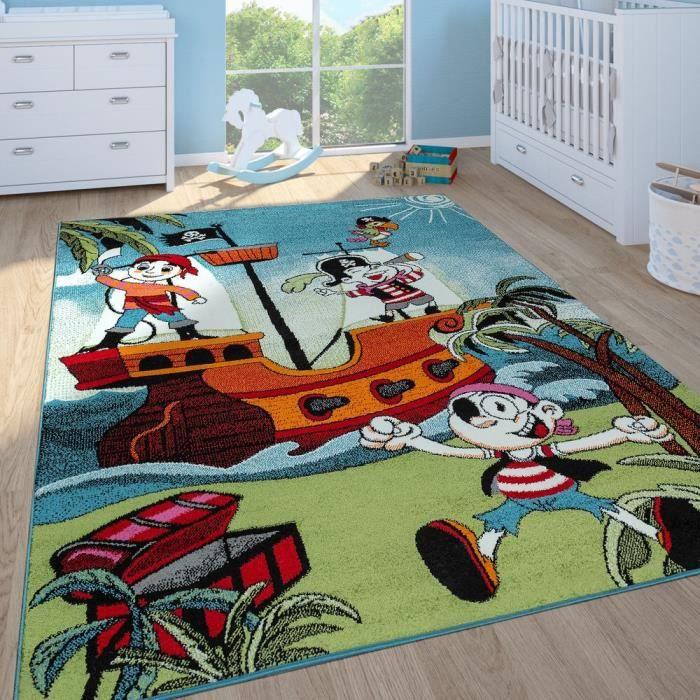 Tapis Enfant Garçon Chambre Enfant Tapis Jeux Poils Ras Bateau Pirate Coloré [120x170 cm]