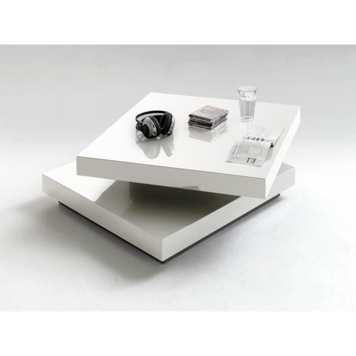 Table basse pivotant Blanc laque brillant - L75 x H30 x P75 cm